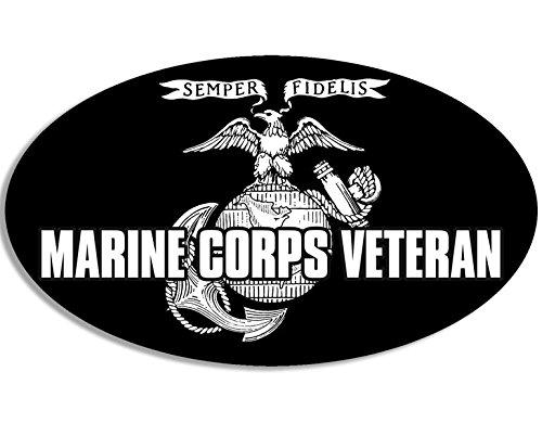 Oval MARINE CORPS VETERAN Sticker (military usmc vet)