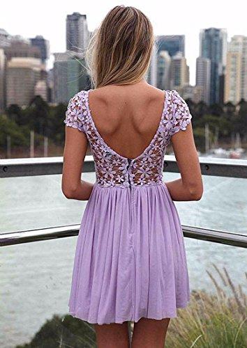 Sans Manches Col Femmes Robe De Dentelle Couture Dos Nu Maille Ronde Mince Robe Casual Violet