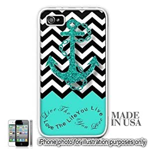 Anchor Live the Life You Love Infinity Quote - Aqua Black White Chevron with Anchor iPhone 4 4S Case - WHITE RUBBER by Unique Design Gifts [MADE IN USA]