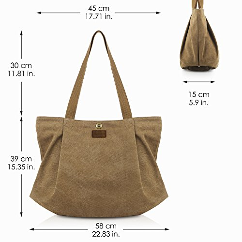 Bag Smriti 3 Shopping School For Travel Work Canvas Tote And Coffee Women qwwZRBH