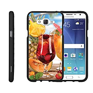 TurtleArmor | Samsung Galaxy J7 Case | J700 [Slim Duo] Fitted Ultra Compact Slim Hard Cover Snap On Shell Protector on Black Ocean Beach Design - Cherry Cocktail