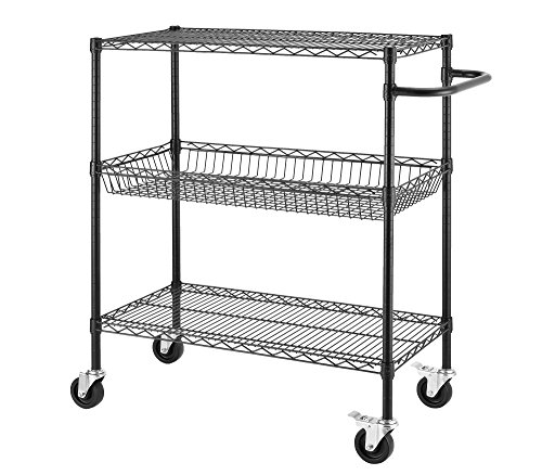 Commercial Grade Caster (Excel ESC-361840P NSF Certified Heavy Duty Commercial Grade Wire Shelving Cart, 36 x 18 x 45