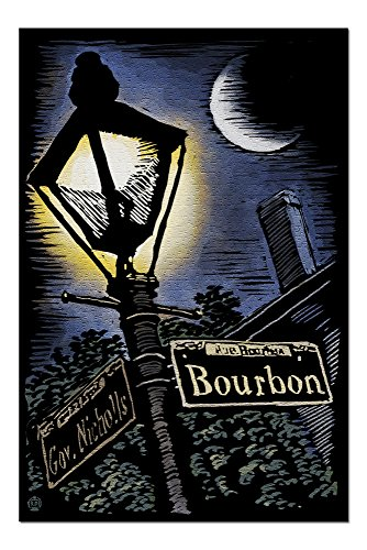 - New Orleans, Louisiana - Bourbon Street Lamppost - Scratchboard (20x30 Premium 1000 Piece Jigsaw Puzzle, Made in USA!)
