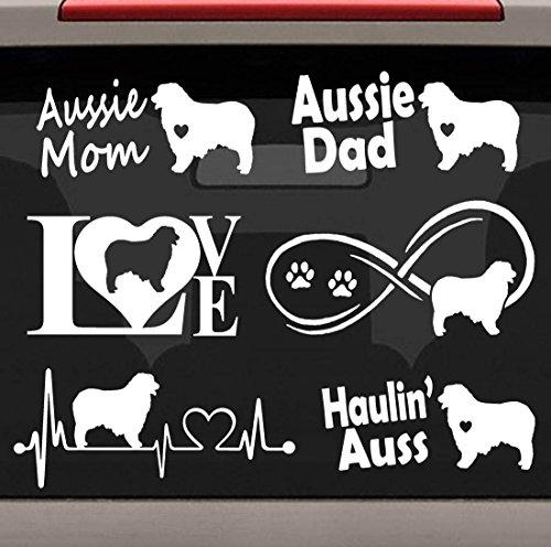 - Bluegrass Decals 6-Count Australian Shepherd Aussie Heartbeat Infinity Love Dog Decal Sticker Set E1081