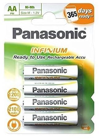 Panasonic Infinium - Paquete de 4 pilas recargables AA (P6/4BC19000, 1900 mAh)