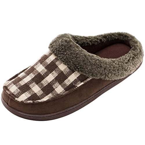 HomeTop Men's Indoor/Outdoor Wool Plush Fleece Lined Slip On Memory Foam Clog House Slippers (US Men's 11-12, Coffee) (Plaid Slip Shoes)