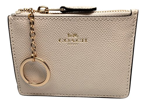 Coach F12186 Mini Skinny ID Case In Crossgrain Leather Chalk (Coach Key Leather)