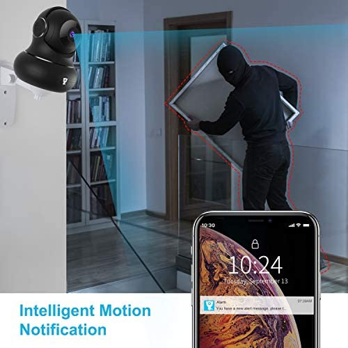 [Updated Version] Indoor Home Security Camera, Littlelf 1080p 2.4G WiFi Camera with Smart Motion Tracking Detection, 2-Way Audio, Night Vision and Cloud Service, Compatible with Alexa (Black) 51 2BpewCa4zL