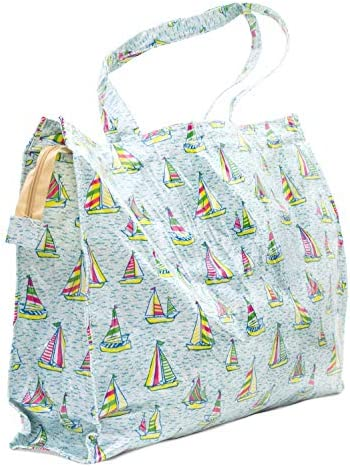 XXL bolso playa náutico impermeable plastificado 54x40x10cm veleros verano 2019 para juguetes, playa, piscina, gym, compras. Resistente.