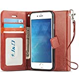iPhone 8 Plus / iPhone 7 Plus Case, J&D [RFID Blocking Wallet] [Slim Fit] Heavy Duty Protective Shock Resistant Flip Cover Wallet Case for Apple iPhone 8 Plus, Apple iPhone 7 Plus - Brown