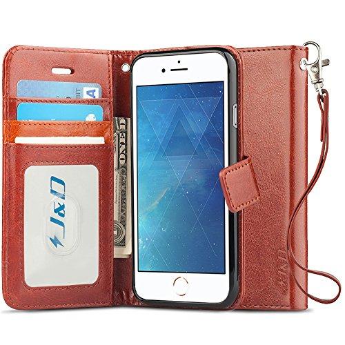 iPhone 8 Plus / iPhone 7 Plus Case, J&D [RFID Blocking Wallet] [Slim Fit] Heavy Duty Protective Shock Resistant Flip Cover Wallet Case for Apple iPhone 8 Plus, Apple iPhone 7 Plus - Brown by J&D
