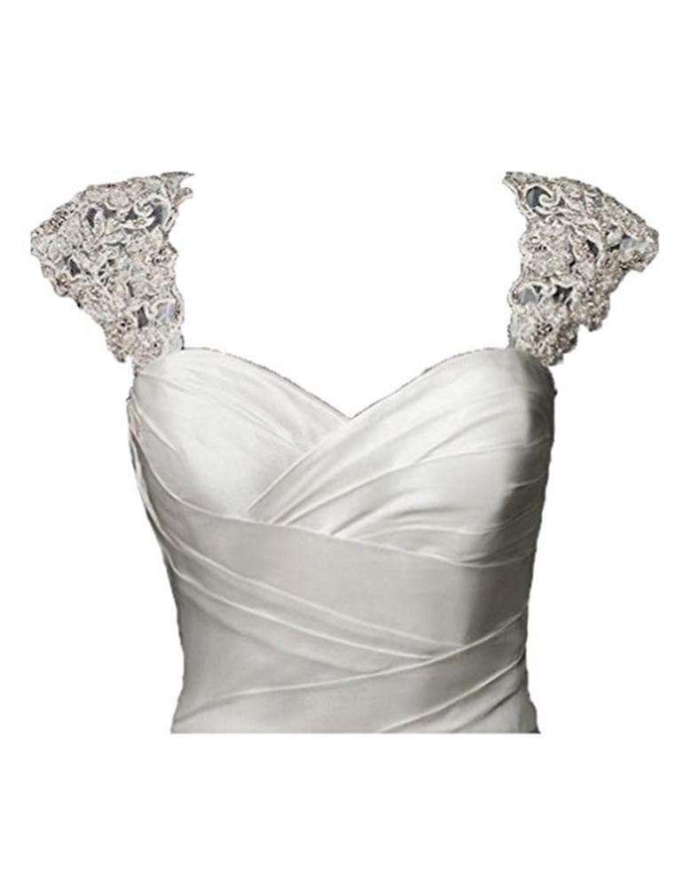 BRL MALL Exquisite Crystal Beaded Detachable Cap Sleeve Lace Wedding Dress Bolero Jacket (L-XL, White)