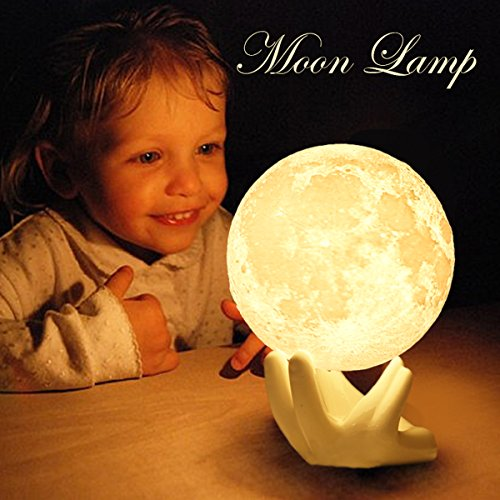 n Moon Night Lights for Bedroom Bedside Lamp with Safe PLA,Eye Caring LED, Crescent Moon Lamp with Stand and USB Port, 2 Colors Adjustable Brightness and Touch Control (Childrens Ceramic Lamp)