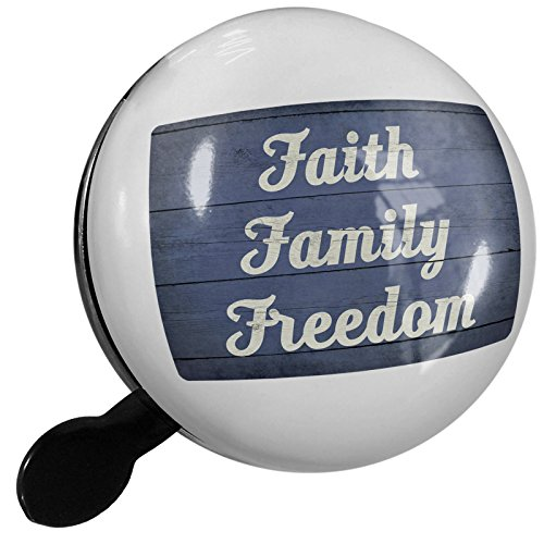 Small Bike Bell Faith Family Freedom Fourth of July Blue and White Wood Planks - NEONBLOND by NEONBLOND
