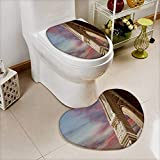 Printsonne 2 Piece Toilet Cover set arches in islamic moorish style in alhambra granada spain Non-slip Soft Absorbent Heart shaped foot pad