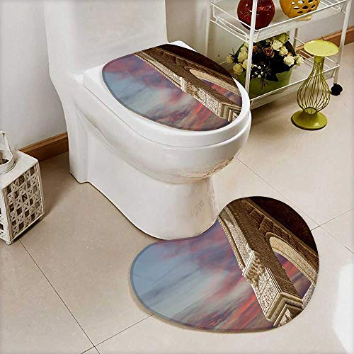 Printsonne 2 Piece Toilet Cover set arches in islamic moorish style in alhambra granada spain Non-slip Soft Absorbent Heart shaped foot pad by Printsonne