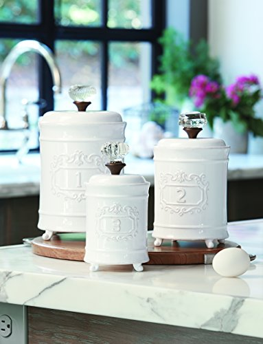 Mud Pie 4931002 Kitchen Canister (Set of 3), White (Canister Collection Set)