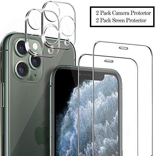 Ferilinso Screen Protector for iPhone 11 Pro Max with 2 Pack Camera Lens Protector, 2 Pack Tempered Glass Film for iPhone 11 Pro Max 6.5 Inch