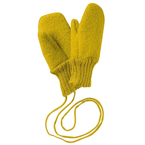 Disana Walk Gloves 100% Organic Merino New Wool (kbT) for newborn, babies and kids Unisex, warm, item for boys and girls (Size 2-10cm, Curry) -