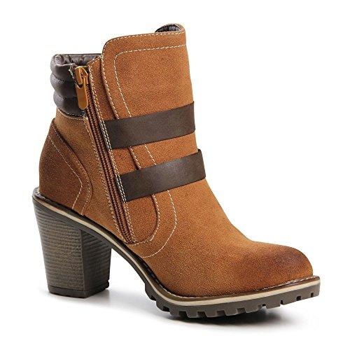 pour 643 Paragraphe femme Bottines Ankle Camel Bloc Boots topschuhe24 nbsp;Femme dtqvt1