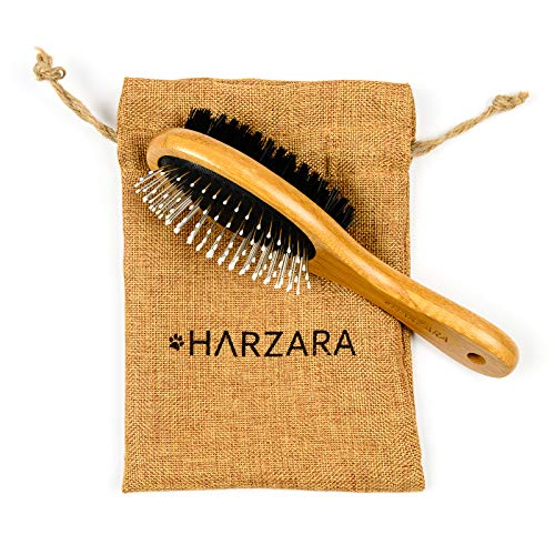(Harzara Eco-Friendly Pet Brush for Cats & Dogs. Professional, Double Sided Pin & Bristle for Short, Medium Or Long Hair. Bamboo Grooming Comb Cleans Pet Shedding & Dirt Plus Smoothes Coat.)