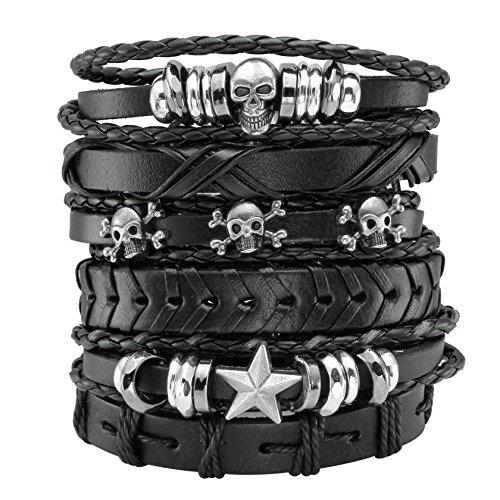 - Eigso 6 Pcs Leather Bracelet Black Braided Wide Wristband Women Men Punk Jewelry Skull