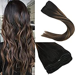 "Sunny 24"" Balayage Color Remy Hair Extensions Natural Black to Chesnut Brown Highlight Black Clip in Human Hair Extensions 7pcs 120gram for Beautiful Hairstyle"