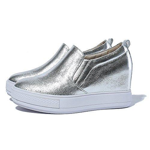 mocasines zapatos planos de la manera de las zapatillas de deporte de las mujeres Kakaka antivibraci?n Negro Blanco Silver
