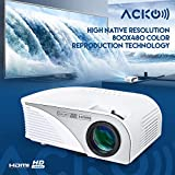 Acko Portable Mini HD LED Video Projector Office Home Theater 1200 LM Multimedia Outdoor 20-150 HDMI VGA USB AV SD Audio 1080P Smart Phone Tablet PC Computers Laptops White Warranty Included