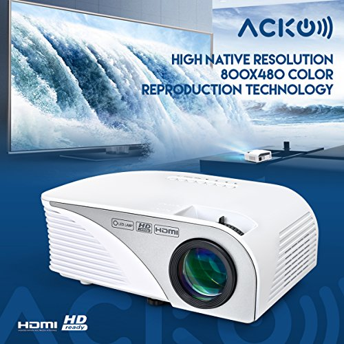 Acko Portable Mini HD LED Video Projector Office Home Theater 1200 LM Multimedia Outdoor 20''-150'' HDMI VGA USB AV SD Audio 1080P Smart Phone Tablet PC Computers Laptops White Warranty Included by EpandaHouse (Image #1)