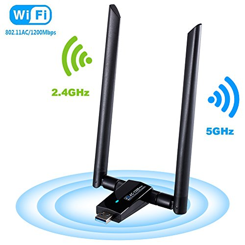 1200Mbps Wireless USB Wifi Adapter, FayTun Wifi Adapter,AC1200 Dual Band 2.4GHz/300Mbps 5GHz/867Mbps,802.11 ac/a/b/g/n High Gain Dual Antennas Network WiFi USB 3.0 for Windows XP/7/8/10,MAC,OSX/Linux
