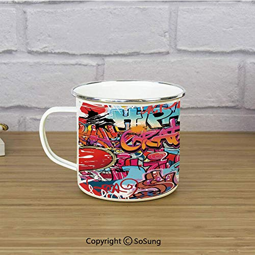 - Graphic Decor Enamel Camping Mug Travel Cup,Hip Hop Street Culture Harlem New York Wall Graffiti Spray Artwork Image,11 oz Practical Cup for Kitchen, Campfire, Home, TravelMulticolor