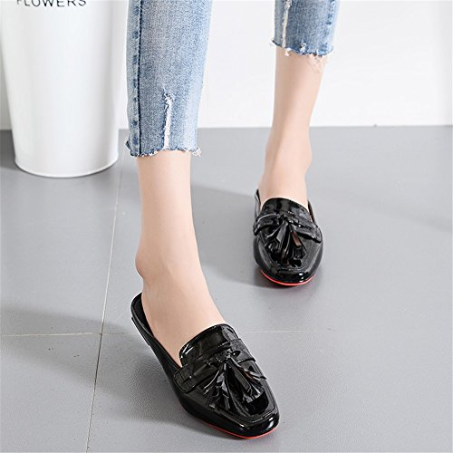 Flat for 39 Sandals Summer Spring Size PU Casual Fashion Women's Color B Closed Shoes Slippers Heel Toe Flat Large Size xYw7CCqHv
