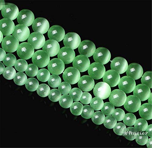 Mimeier 6-12mm Cat's Eye Round Beads Strands, Light Green (007MY) (8mm Cats Eyes Glass Beads)
