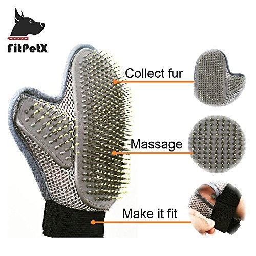 FitPetX Pet Grooming Glove Brush, Pet Grooming Glove Brush for Long and Short Hair Dog and Cat, by FitPetX (Image #2)