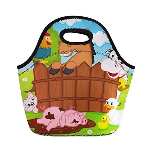 Semtomn Lunch Bags Duck Baby Domestic Animals Barnyard Bird Cartoon Cat Cow Neoprene Lunch Bag Lunchbox Tote Bag Portable Picnic Bag Cooler - Barnyard Lunch