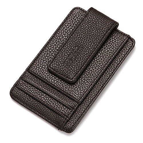 Slim Pocket Wallet with Magic Money Clip & Card Holders, Genuine Leather (Dark brown w/ window)