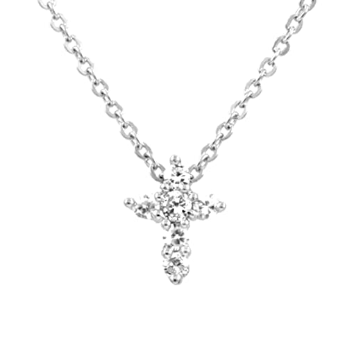 Amazon tiny cz cross necklace collar necklaces jewelry tiny cz cross necklace mozeypictures Choice Image