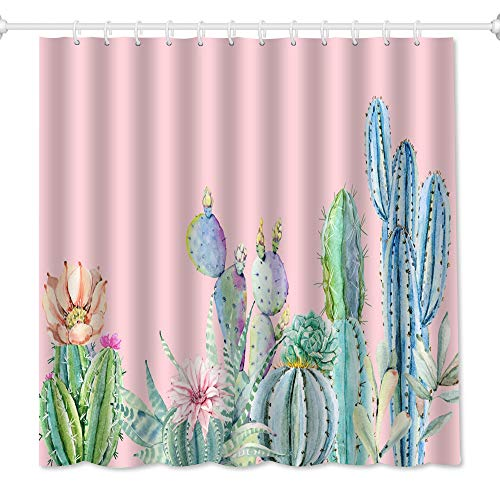 QiyI Pink Cactus Shower Curtain Tropical Plants and Flower Design Bathroom Accessories Waterproof & Machine Washable with 12 Hooks 72