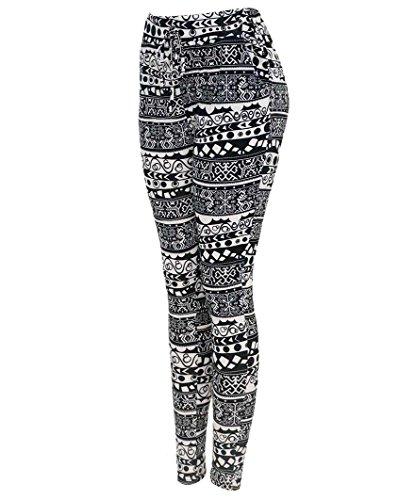Simplicity Women's Summer Monochrome Tribal Printed Harem Pants, M/L