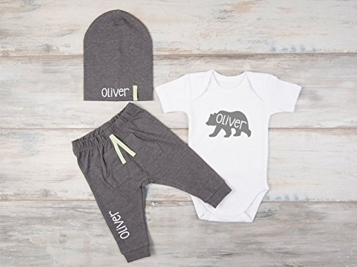 Personalized Baby Boy Gift, Set of 3 - Personalized Bodysuit, Hat and Pants by Big.Lil.Tees