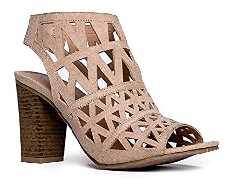 Riviera Laser Cut Out Mule, Natural, 10 B(M) US (Neon Pink Track Spikes)