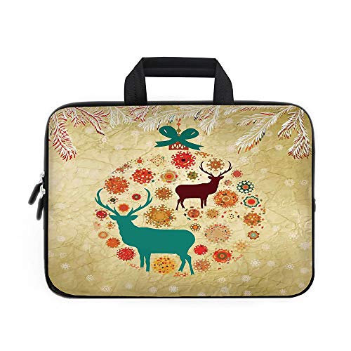 Christmas Decorations Laptop Carrying Bag Sleeve,Neoprene Sleeve Case/Reindeer and Snowflakes in Abstract Balls Ornament Vintage Paper Art Image/for Apple Macbook Air Samsung Google Acer HP DELL Lenov