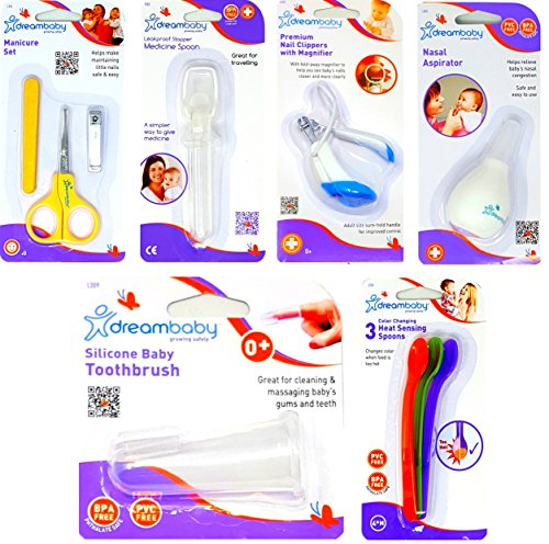 Baby Care Essential Items 6 Piece Combo Kit Includes Medicine Spoon Baby Nail Clippers Safety Scissors Silicone Baby Toothbrush and 3 Heat Sensing Baby Spoons