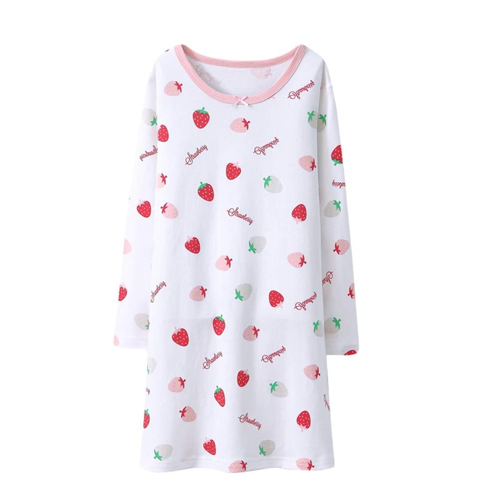 YuanDian Girls Nightgown Long Sleeve Autumn Winter Printing Warm Soft 100/% Cotton Kids Nighties Pajama Dress Teenage Sleeping Nightdress Fancy Sleepshirt