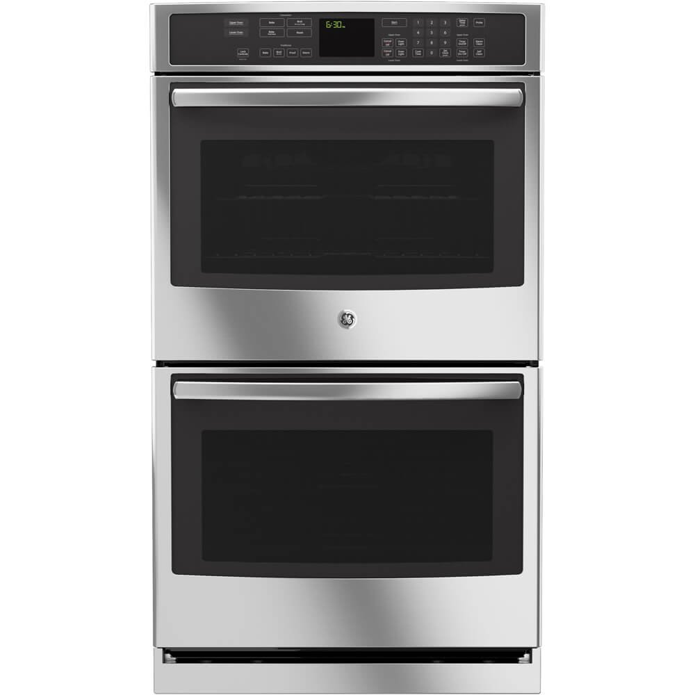 and Self Clean with Steam Clean Option Designer Style Handle with Upper Convection in Stainless Steel GE PT7550SFSS Profile 30 Double Oven