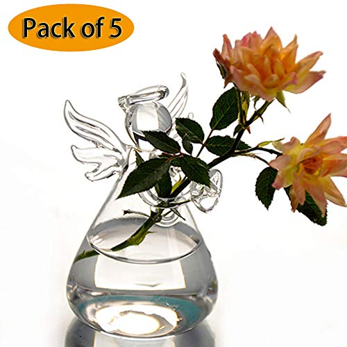 CTlite Pack of 5 Angel Design Glass Vases Clear Flower Plant Terrarium Container Hanging Vase Wedding Decor Garden Ornaments Hanging -