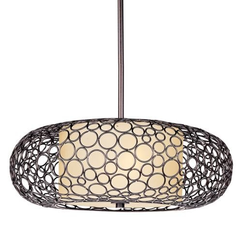 Maxim 21347DWUB Meridian 2-Light Pendant, Umber Bronze Finish, Dusty White Glass, MB Incandescent Incandescent Bulb , 100W Max., Dry Safety Rating, Standard Dimmable, Metal Shade Material, 1150 Rated Lumens - 2 Lite Pendant