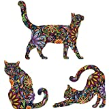 My Wonderful Walls Repositionable Cat Wall Decals in Flower Pattern, Small, Set of 3