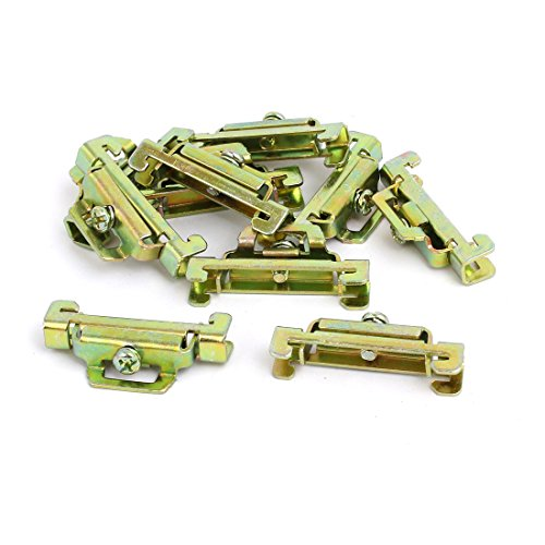 Bronze Fixed Rail - uxcell 10 Pcs 35mm Width DIN Guide Rail Buckle Fixed Clamp Bronze Tone 44mmx8mmx22mm